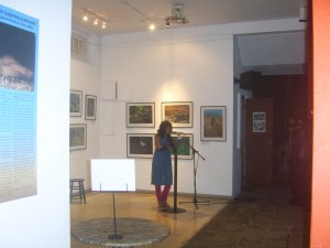Shehani Gomes the author making her presentation at the launch