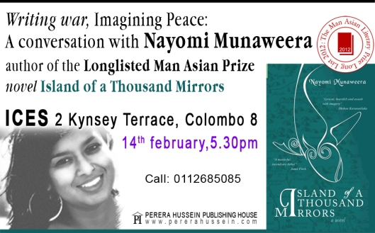 Come Listen to Nayomi Munaweera at the ICES on the 14th Feb 5.30pm.